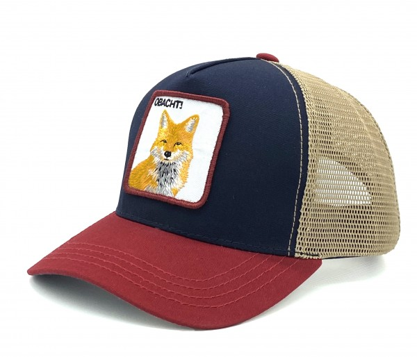 OBACHT! - Trucker Cap mit Motto-Patch und Fuchs-Stickerei multi