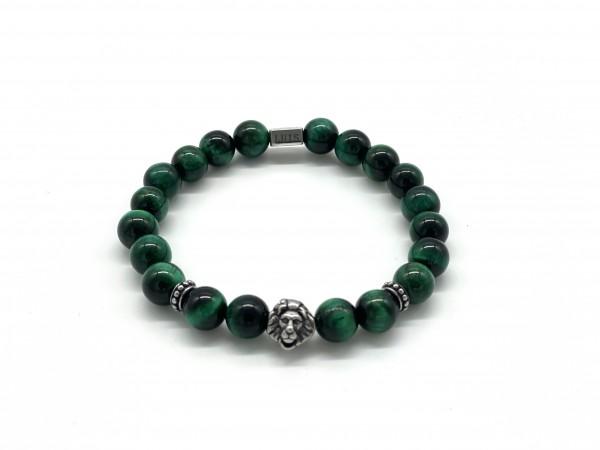 LÖWE - Armband aus grünem Tigeraugen-Quarz