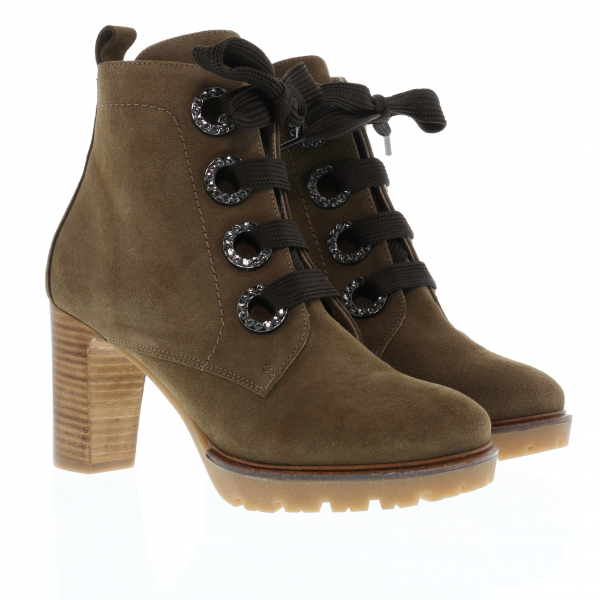 LENI - Strass-Stiefelette in Kalbvelour in Taupe