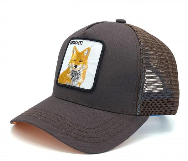 OBACHT! - Trucker Cap mit Motto-Patch und Fuchs-Stickerei braun